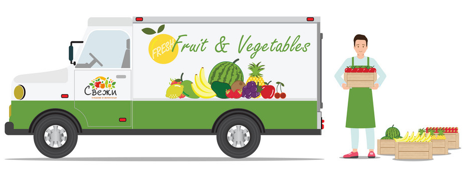Farmers fruit and vegetables delivery car with the smiling deliverer holding fresh fruit isolated on white background. character cartoon vector illustration.